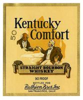 Kentucky Comfort straight bourbon whiskey, Rathjen Bros., San Francisco