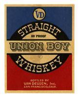 Union Boy straight whiskey, Van Deusen, Inc., San Francisco