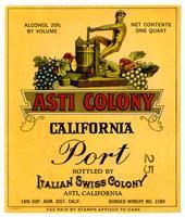 Asti Colony California port, Italian Swiss Colony, Asti
