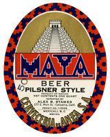 Maya beer, pilsner style, Cerveceria de Anza S.A., Mexicali, B. C., Mexico