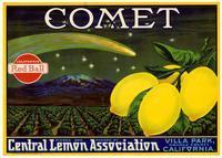Comet brand lemons, Central Lemon Association, Villa Park