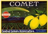 Comet brand lemons, Central Lemon Association, Villa Park