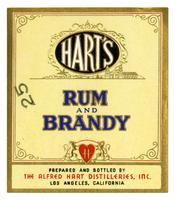 Hart's rum and brandy, The Alfred Hart Distilleries, Los Angeles