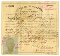 Certificate of residence for Ng Gwan, farmer, age 49 years, of San Jose, California
