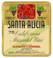 Santa Alicia California Muscatel wine, Padre Vineyard Company, Cucamonga
