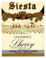 Siesta California sherry, Mount St. John Winery, Oakville
