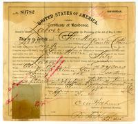 Certificate of residence for Chun Hoon [?], farmer, age 22 years, of Santa Clara, California