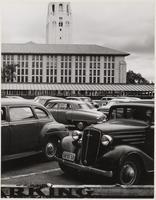 Stanford University Library, temporary buildings and Hoover Tower, Santa Clara County, California