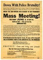 Down with police brutality! ... Break the ship-owners dictatorship in San Francisco!! ... Mass meeting!