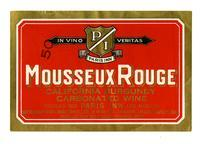 Mousseux Rouge California Burgundy carbonated wine, Fruit Industries, Ltd., Los Angeles