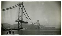 Golden Gate Bridge construction, view from Fort Point