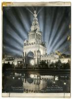 Tower of Jewels Illuminated at the Panama-Pacific International Exposition, San Francisco