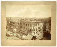 Construction of U.S. Mint, taken from roof of Lincoln School looking S.W., San Francisco
