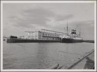 Docked steamship at Terminal Island side of Los Angeles harbor