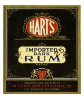 Hart's imported dark rum, The Alfred Hart Distilleries, Los Angeles