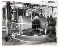 Oil mill, showing full wheel for crushing olives, California