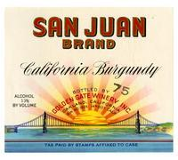 San Juan Brand California Burgundy, Golden Gate Winery, Oakland