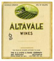 Altavale Wines, E. G. Lyons & Raas Co., San Francisco