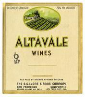 Altavale Wines, E. G. Lyons & Raas Co., San Francisco