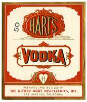 Hart's vodka, The Alfred Hart Distilleries, Los Angeles