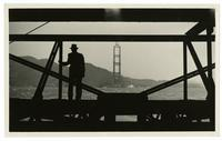 Golden Gate Bridge construction, looking across the Golden Gate