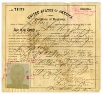 Certificate of residence for Lee Hong Sang [?], farmer, age 45 years, of San Jose, California