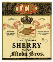 L.C.M. California sherry wine, Meda Bros., Sacramento