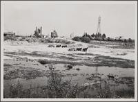 Los Angeles River near central manufacturing district (Vernon), looking east; land wagon, oil tank wagon, power line