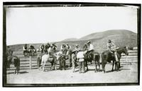 Men in corral at Rancho Santa Anita