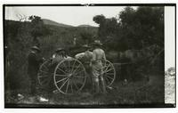 Men alongside horse-drawn wagon, Rancho Santa Anita