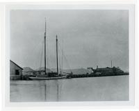 Ship docked at Crystal Salt Works, Newark, Alameda County