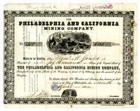 Philadelphia and California Mining Company stock certificate no. 318 : Philadelphia, 1852 April 7.