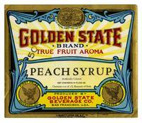 Golden State Brand peach syrup, Golden State Beverage Co., San Francisco