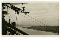 Golden Gate Bridge construction workers spinning cable with view of San Francisco