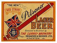 Red Stripe pilsener lager beer, The Surrey Brewery, Kingston, JA
