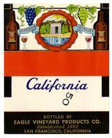 Blank California wine label, Eagle Vineyard Products Co., San Francisco