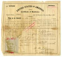 Certificate of residence for Lee Hin, common laborer, age 50 years, of Salinas, California