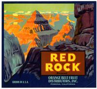 Red Rock Brand citrus crate label, Orange Belt Fruit Distributors, Inc., Pomona
