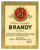 Lachman & Jacobi straight California brandy, Fruit Industries, Ltd.