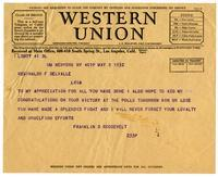 Franklin D. Roosevelt telegram to Reginaldo del Valle