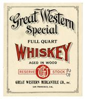 Great Western Special whiskey, Great Western Mercantile Co., San Francisco