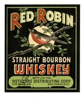Red Robin straight bourbon whiskey, Distillers Distributing Corp., Los Angeles