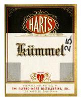 Hart's kϋmmel, The Alfred Hart Distilleries, Los Angeles