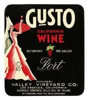 Gusto California wine, port, Valley Vineyard Co., Los Angeles