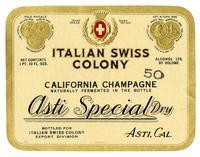 Asti Special Dry California Champagne, Italian Swiss Colony, Asti