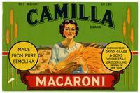 Camilla Brand macaroni, David Glass & Sons Wholesale Grocers, Inc., Brooklyn, New York