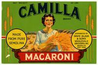 Camilla Brand macaroni, David Glass & Sons Wholesale Grocers, Inc., Brooklyn, New York