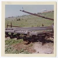 View of old plow probably from Mission days uncovered around 1965