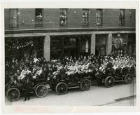 Opening Day 1903, Oakland and Sacramento prepare to leave the Statehouse Hotel for first PCL game in Sacramento