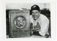 """Frank """"Lefty"""" O'Doul photographed with the O'Doul Day plaque"""